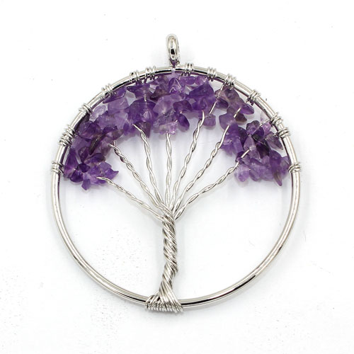 Tree of life pendant chinese crystal beads chakra tree of life pendantamethyst gemstone 17 inches tall aloadofball Choice Image