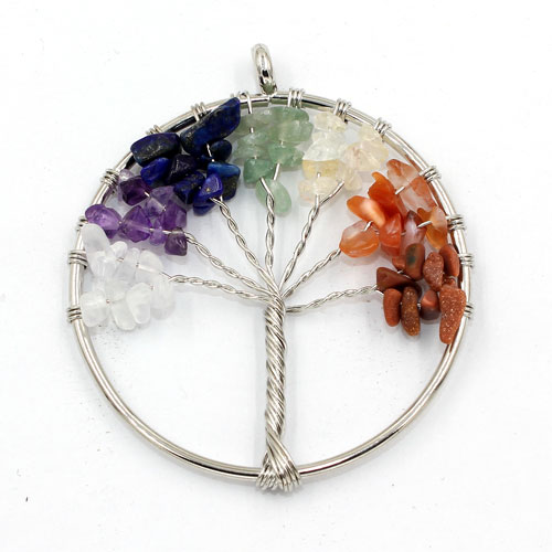 Chakra Tree of Life Pendant, mix gemstone, 1.7 inches tall
