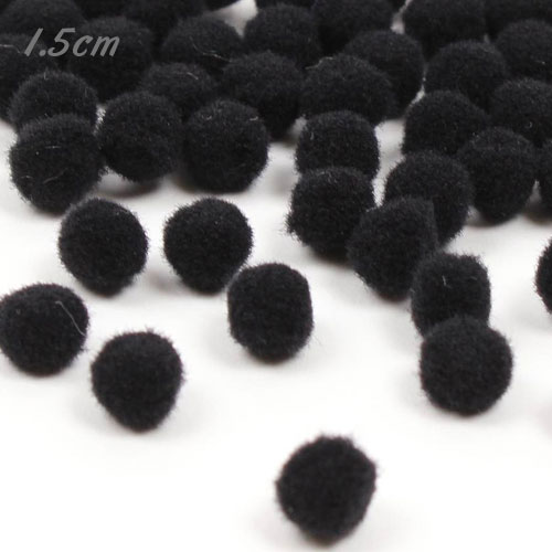 50Pcs 15mm Craft Fluffy Pom Poms Bobble ball, black color