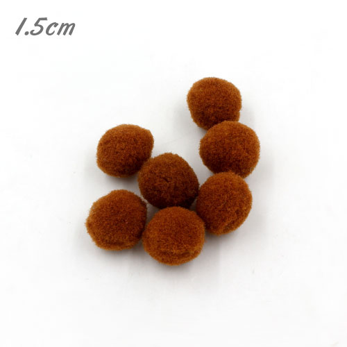 50Pcs 15mm Craft Fluffy Pom Poms Bobble ball, brown color