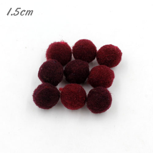 50Pcs 15mm Craft Fluffy Pom Poms Bobble ball, dark red color