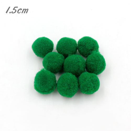 50Pcs 15mm Craft Fluffy Pom Poms Bobble ball, emerald color