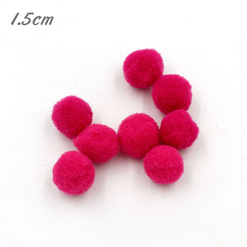 50Pcs 15mm Craft Fluffy Pom Poms Bobble ball, fuchsia color