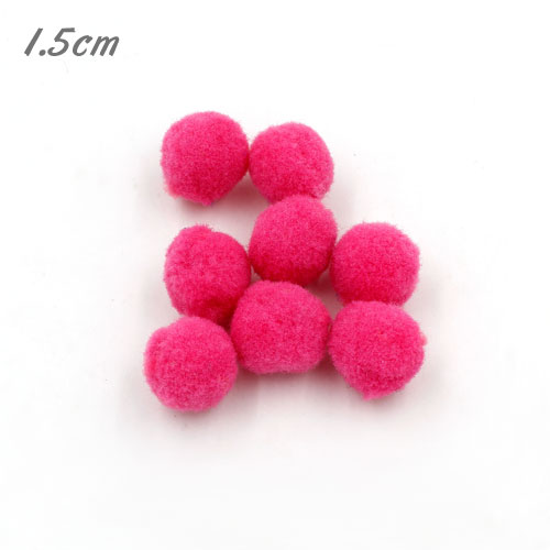 50Pcs 15mm Craft Fluffy Pom Poms Bobble ball, hot pink color