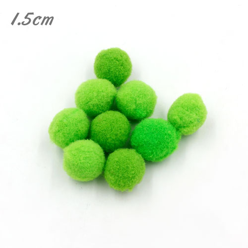 50Pcs 15mm Craft Fluffy Pom Poms Bobble ball, lt green color