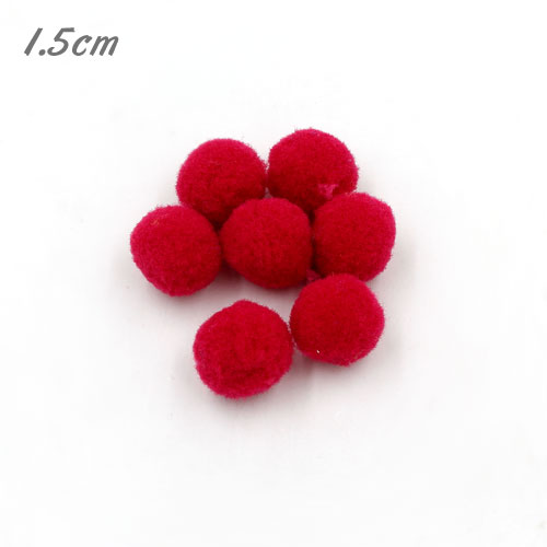 50Pcs 15mm Craft Fluffy Pom Poms Bobble ball, med red color