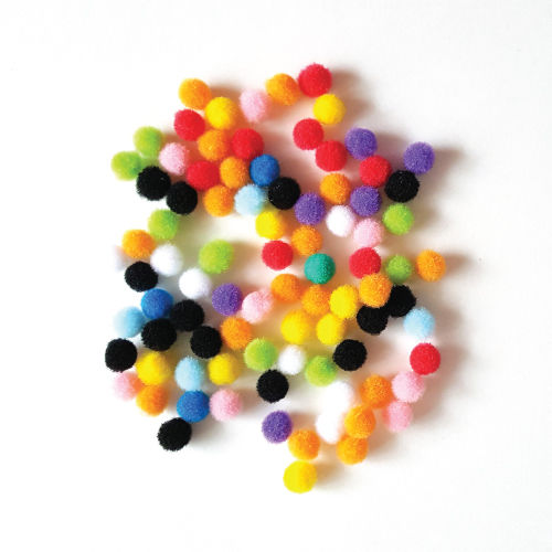 50Pcs Craft Fluffy Pom Poms Bobble mix loose colors (1cm, 1.5cm, 2cm, 3cm, 4cm)