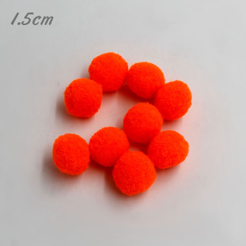 50Pcs 15mm Craft Fluffy Pom Poms Bobble ball, neon orange color