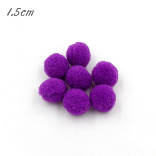 50Pcs 15mm Craft Fluffy Pom Poms Bobble ball, purple color