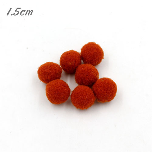 50Pcs 15mm Craft Fluffy Pom Poms Bobble ball, red brown color