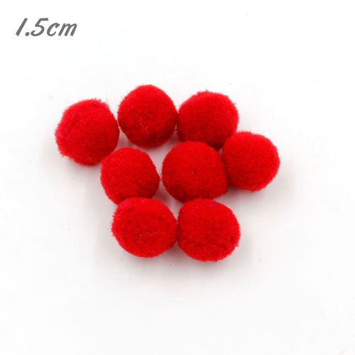 50Pcs 15mm Craft Fluffy Pom Poms Bobble ball, red color