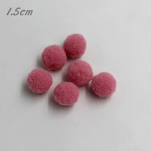 50Pcs 15mm Craft Fluffy Pom Poms Bobble ball, rosaline color