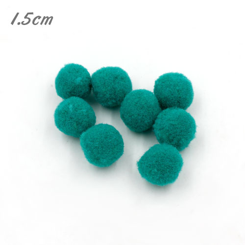 50Pcs 15mm Craft Fluffy Pom Poms Bobble ball, bluegreen color