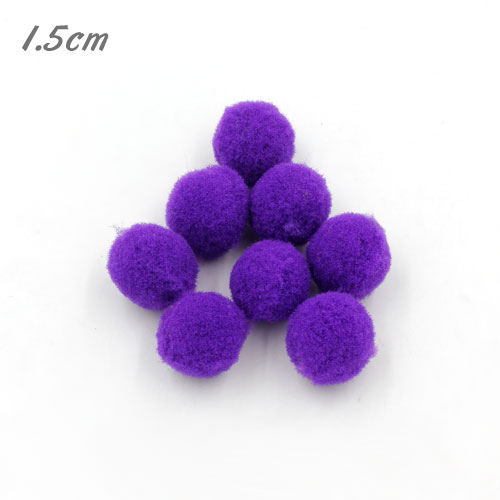 50Pcs 15mm Craft Fluffy Pom Poms Bobble ball, violet color