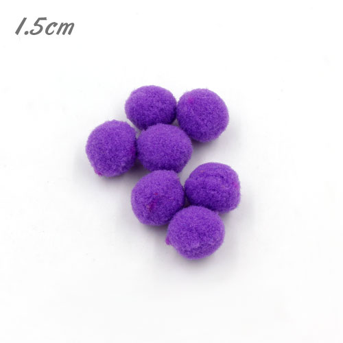 50Pcs 15mm Craft Fluffy Pom Poms Bobble ball, violet 2 color