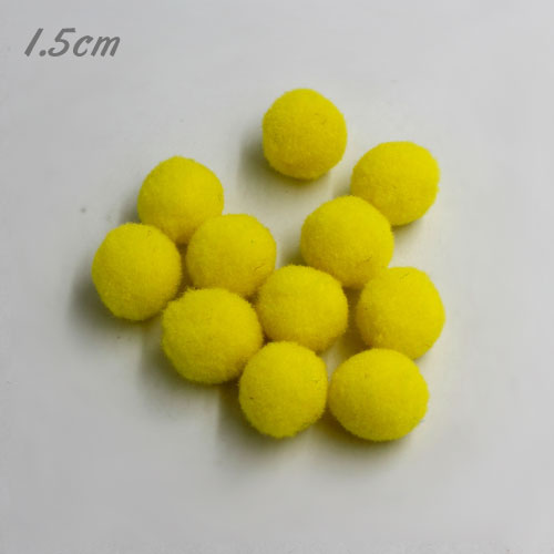 50Pcs 15mm Craft Fluffy Pom Poms Bobble ball, yellow color