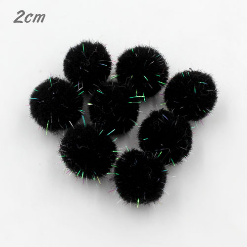 50Pcs 20mm Craft Fluffy Pom Poms Bobble Craft diy, black color