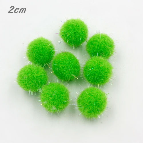 50Pcs 20mm Craft Fluffy Pom Poms Bobble Craft diy, green color