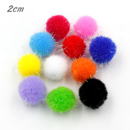 50Pcs 20mm Craft Fluffy Pom Poms Bobble mix loose colors Craft diy