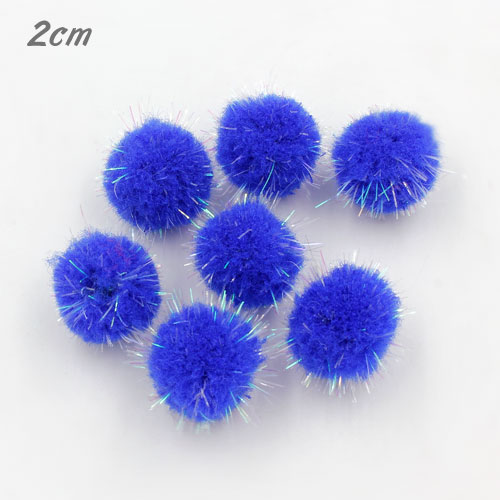50Pcs 20mm Craft Fluffy Pom Poms Bobble Craft diy, blue color