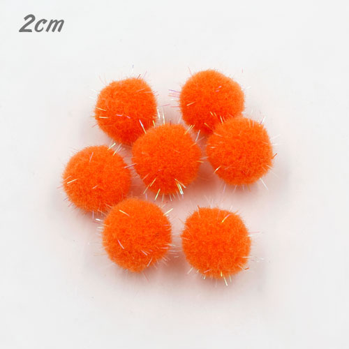 50Pcs 20mm Craft Fluffy Pom Poms Bobble Craft diy, orange color