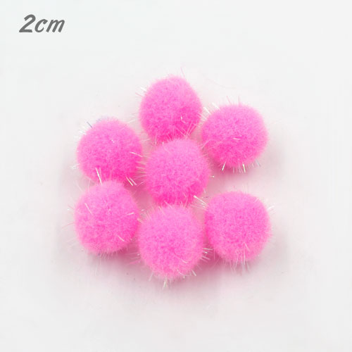 50Pcs 20mm Craft Fluffy Pom Poms Bobble Craft diy, pink color