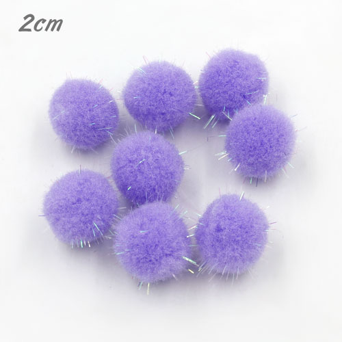 50Pcs 20mm Craft Fluffy Pom Poms Bobble Craft diy, purple color
