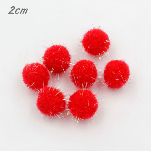 50Pcs 20mm Craft Fluffy Pom Poms Bobble Craft diy, red color