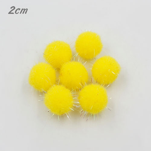 50Pcs 20mm Craft Fluffy Pom Poms Bobble Craft diy, yellow color