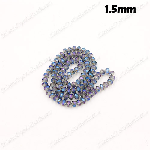 1.5x2mm Chinese Crystal Rondelle Beads, transparently blue light, 190pcs