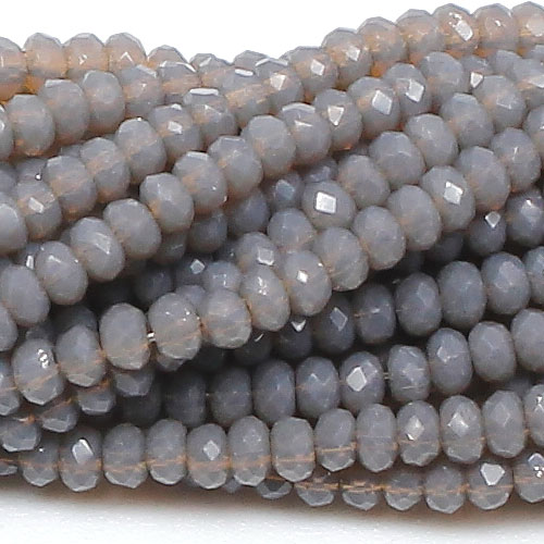 1.5x2mm rondelle crystal beads, opaque gray A, 190Pcs