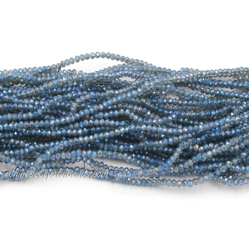 1.5x2mm rondelle crystal beads, Magic Blue, 190Pcs