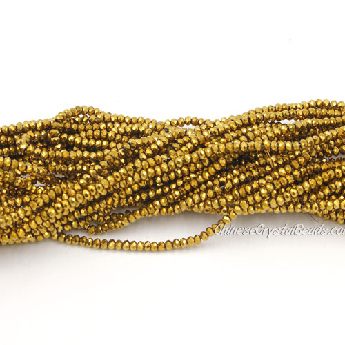 1.5x2mm rondelle crystal beads, gold, 190Pcs