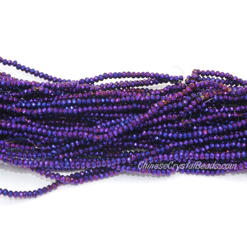1x2mm rondelle crystal beads, Metallic purple, 190Pcs