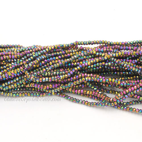 1.5x2mm rondelle crystal beads, Metallic rainbow, 190Pcs