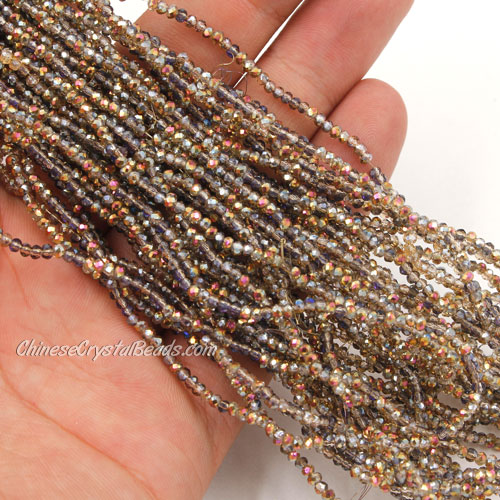 1.5x2mm rondelle crystal beads, half amber light, 190Pcs