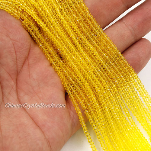 1.5x2mm rondelle crystal beads, lemon, 190Pcs