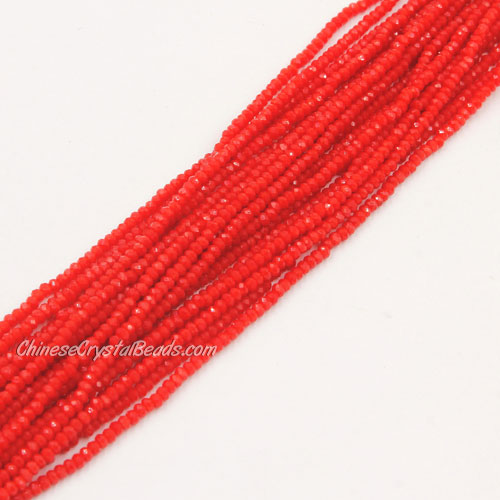 1.5x2mm rondelle crystal beads, lt red velvet, 190Pcs