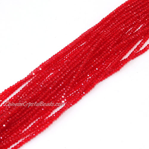 1.5x2mm rondelle crystal beads, lt siam, 190Pcs