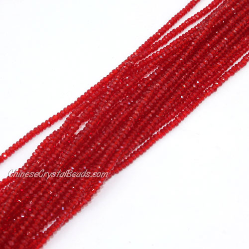 1.5x2mm rondelle crystal beads, siam, 190Pcs
