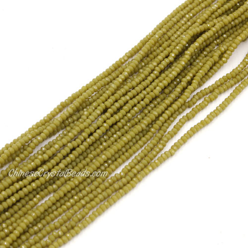 1.5x2mm rondelle crystal beads, opaque Khaki, 190Pcs