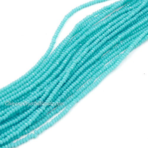 1.5x2mm rondelle crystal beads, opaque Turquoise 01, 190Pcs