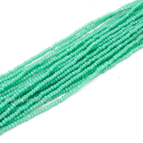 1.5x2mm rondelle crystal beads, opaque Turquoise, 190Pcs