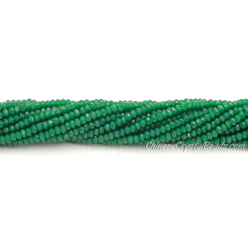 1.5x2mm rondelle crystal beads, opaque dark green, 190Pcs