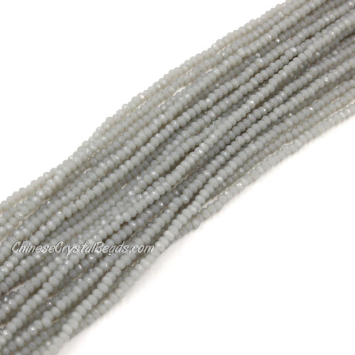1.5x2mm rondelle crystal beads, opaque gray 01, 190Pcs
