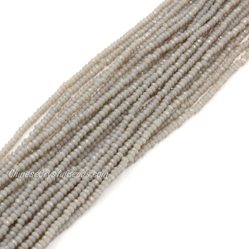 1.5x2mm rondelle crystal beads, opaque gray 02, 190Pcs