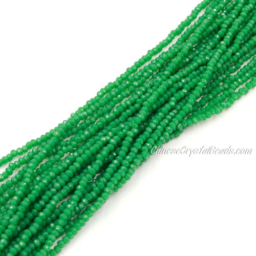 1.5x2mm rondelle crystal beads, opaque green, 190Pcs