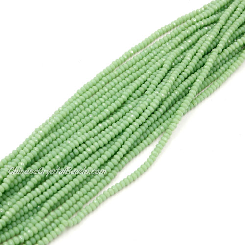1.5x2mm rondelle crystal beads, opaque light green, 190Pcs