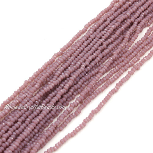 1.5x2mm rondelle crystal beads, opaque purple, 190Pcs