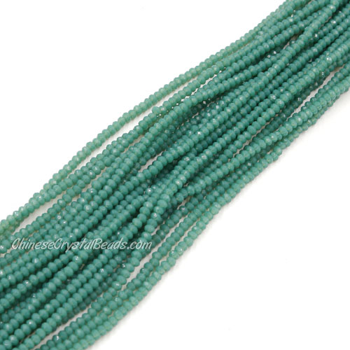 1.5x2mm rondelle crystal beads, opaque teal, 190Pcs